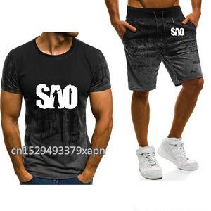 Imprimé en ligne manches courtes épée SAO Art Homme Printemps Automne dégradé coton de haute qualité occasionnels T-shirt pour hommes + Pantalons Costume 2PcsT