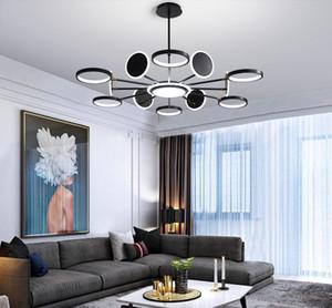 50W 66W 98W LED de iluminación de la lámpara moderna de Oro o Negro para sala de estar dormitorio principal Deco Colgando de montaje de la lámpara Ajuste 3 colores LLFFA