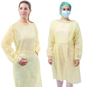 EEUU Stock 50pcs Aislamiento Vestido de Protección de protección desechables ropa a prueba de polvo de la bata para las mujeres de los hombres anti-niebla anti-partículas FY4001 Traje