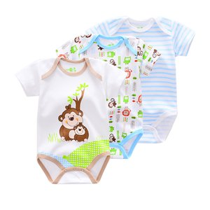 2020 Summer Baby Boys Romper Short Sleeve cotton infant Jumpsuit rompers Animal style monkey Baby Newborn Clothes 3 Pieces lot