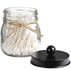 Regolare Mason Jar Bagno Apothecary vetro scatola metallica Vasi Vanity Organizer- Rustico Decor nero opaco per tamponi di cotone - Nessun Vasi