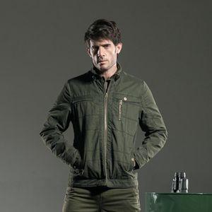 Large Size Men Jacket Coat Autumn New Leisure Men's Jacket Thin Business Men Coat Zipper Army Green Man Brand MS-6282A