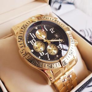 Neue mode luxus uhren 44,5mm ozean racer a1338012 schwarzes zifferblatt vk quarz chronograph arbeits edelstahl herren armbanduhren