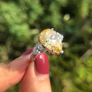 الزركون خواتم الزفاف للنساء أعلى جودة 925 فضة تألق ملون قطرة الماء cz حزب المجوهرات هدية