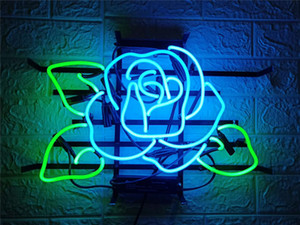 New Star Neon Sign Factory 17X14 pollici Real Glass Glass Sign Light per Beer Bar Pub Garage Room Blue Rose.