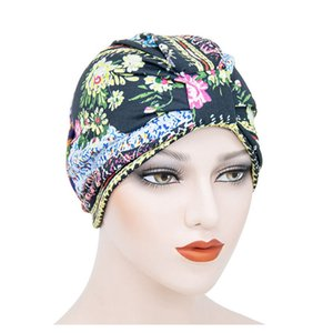 Arab Muslim turban hair bonnets for women African female dreadlock hat single layer cotton printing head wrap sleep capTB-72