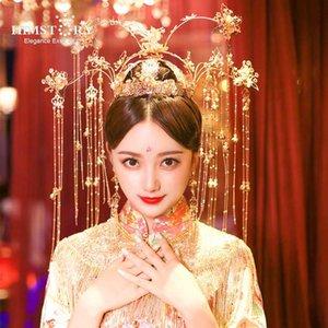 HIMSTORY Chinese Traditional Brautkopfschmuck Goldschmetterlings-lange Troddel-Kostüm-Stadium Hochzeit Schmuck Haarschmuck