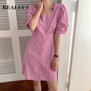 REALEFT 2020 neue elegante Sommerminikleider Sqaure Kragen Einreiher Shirts Kleider mit hoher Taille mit Puffärmeln