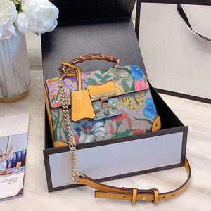 대나무 탑 핸들 가방 여성 어깨 크로스 바디 백 빈티지 꽃 꽃 가방 정품 가죽 핸드백 자물쇠 체인 화장품의 경우 2020 새로운