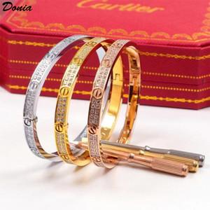 carte bijoux Donia trois couleurs galvanoplastie luxe exagéré micro inlay deux rangées de zircons acier de titane de la mode européenne et américaine