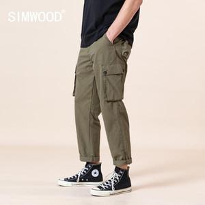 SIMWOOD 2020 yazında yeni kargo pantolon erkek çoklu cepleri ayak bileği uzunlukta pantolon büyük beden markası giyim SJ170379 gevşek