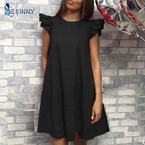 EFINNY женщины рябить плечо летнее платье старинные A-Line свободные короткие платья женские Vestidos