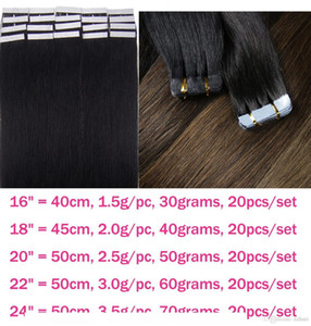 A Zzhair 16 &Quot ;-24 &Quot ;Tape Remy Hair 100 %Brazilian Human Hair Extensions 20pcs Pack Tape In Hair Skin Weft 30g -70g