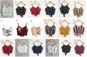Fashion Women V-neck Stirped Lady Tops Sexy With Straps Tie Back Floral Print Tops Women Clothing