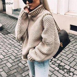 AREQW Caída y Crespo-cuello alto invierno 2020 nuevos mujeres del suéter de la manga del palo del suéter del Knit de las mujeres
