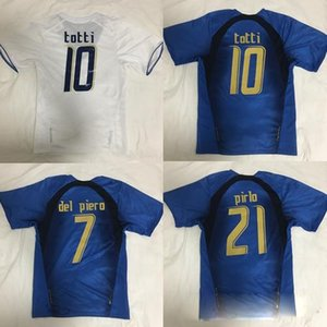 Rétro 2006 Italie Football Jersey Gattuso Cannavaro Francesco Totti Del Piero Nesta Inzaghi Pirlo Materazzi Toni 06 Italia Football Chemises