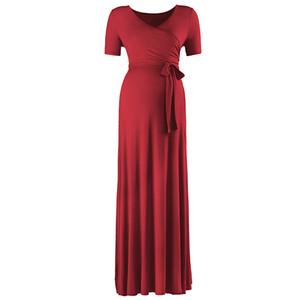Hamile Elbisesi Geri Dönüşümlü Fiber Katı Renk Uzun Etek Kemer Ayarlanabilir Dökümlü V Yaka Eğlence Kısa Aleeve Dalga Noktası 50