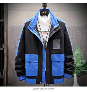 Herren Frühlings-Herbst-Kontrast-Farben-Jacke Reißverschluss Mens Striped Mäntel Stehkragen langärmelige Jacke