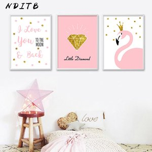 NDITB Cartoon Flamingo Diamond Poster Nursery Wall Art Canvas Print Painting Nordic Decoration Wall Picture for Girls Bedroom