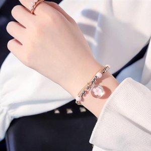 Glass manera de la pulsera de la armadura de Lucky flor rosa pulseras hechas a mano tejida seca flores de joyas de abalorios pulsera de las nuevas mujeres