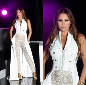 2019 Arabe De Bal Combinaison V Cou Dentelle Appliqued Perles Femmes Robes De Soirée Pantalon Costumes Sur Mesure formelle Occasion Robes