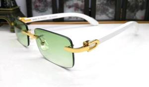Homem Shades Mulheres chifre de búfalo Óculos moldura de madeira óculos de sol retro das mulheres sem aro Verde Lens Sunglasses Mens Sports Óculos 2020 on-line