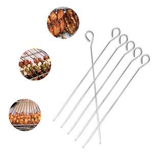 5 / 10Pcs BBQ Brochette nourriture Needle Sticks Barbecue en acier inoxydable pour Kebab viande Outil grilloir Rob réutilisable BBQ Grill Accessoires