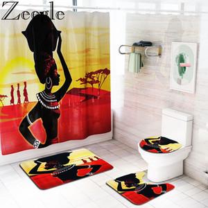 Alfombra de baño al por mayor de la cortina de ducha Conjunto mujer africana Impreso Alfombra de baño Set cortina de baño Mat cubierta de asiento de inodoro a prueba de agua