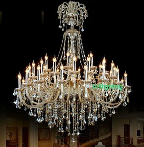 Extra Large Cristal Lustre Vestibule haut plafond Lustre pour Hôtel Lustre en cristal gouttes