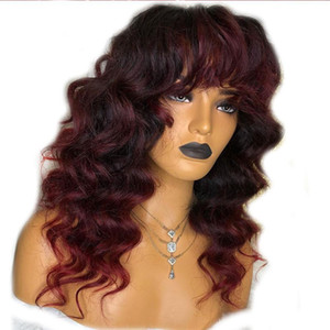=Body Wave 99j Burgundy Ombre Red 13x4 Lace Front Human Hair Wigs With Bangs Pre Plcuked Brazilian Remy Fringe Wigs