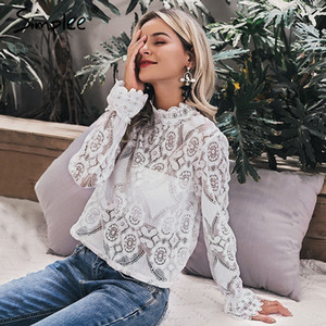 Elegant Floral Lace Blouse Shirt Women Lantern Sleeve White Blouse Spring Summer Hollow Out Tops BlouseElegant white lace blouse shirt Sexy