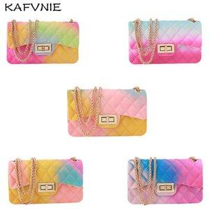Mulheres de KAFVNIE Crianças Jelly Handbag 17 centímetros Ombro Arco-íris Cor Meninas PVC Saco dos doces do saco do verão Silicon Tote Praia Satchel