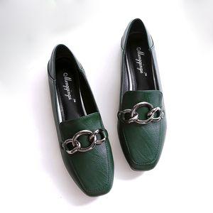 Sapatos Mulher mocassins apartamentos de metal decoração sapatos dobráveis oxford lâminas sandálias confortáveis Plus Size preto Blackish marrom verde