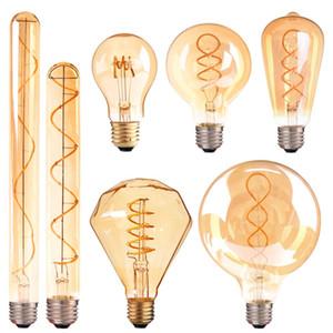 E14 E27 LED ريترو لولبية خيوط ضوء لمبة الدافئة الأصفر 220V C35 A60 T45 ST64 T185 T225 G80 G95 G125 خمر إديسون مصباح