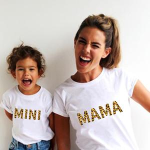 1pc Aile Eşleştirme tişörtleri Annem ve Ben Giyim Leopar Mama ve Mini Tshirts anne kızı Oğul Eşleştirme Gömlek yazdır