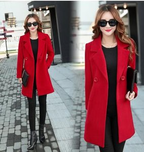 겨울 자켓 여성 외투 양모 코트 정장 플러스 크기 큰 큰 긴 검은 슬림 블렌드 옷 겉옷