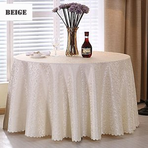 1PC Multi Size White Polyester Hotel Dinner Table Cloth Round Washable Gold Crocheted Floral Tablecloth For Wedding Party Decor Y200421