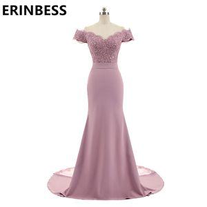 Chegada Nova Rosa da sereia da dama de honra vestidos de festa V Neck Cap Sleeve Lace Vintage Appliques frisada Vestidos Vestido de Festa