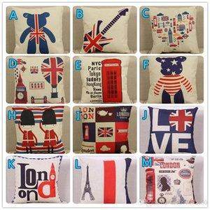 Almofada cobertura Simples Padrão Britânico Pad Pi London Street Pillow Cover Thick Cotton and Linen Fillowcase Home Decoration Fillow Case