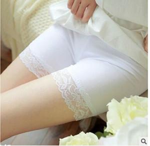 Pantalones seguridad mujeres Pantalones cortos del cortocircuito del cordón de la ropa interior ropa de dormir de seguridad Negro / blanco