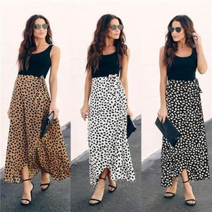 Baskılı Etek Yaz Tasarımcı Düzensiz Elbise Yüksek Şerit Yaylar Elbiseler Dişiler Moda Giyim Kadın Yaz Leopard Print çiçek