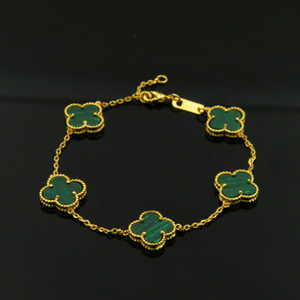 Venda quente de alta qualidade marca de moda 18 K titanium aço pulseira pulseira de folha de ouro adequado para casal presente