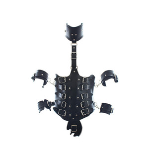 Adjustable Black Leather Collar Waist Arm Bondage Set Harness Fetish Appearl chastity belt restraint strap games SM kinky