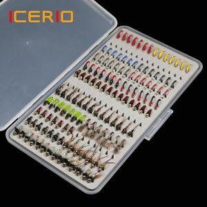 Sport Unterhaltung ICERIO 133pcs / Set ultradünne bewegliche Nymph Scud Midge Fliegen Kit Sortiment mit Box Trout Fishing Fly Lures