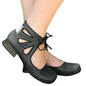 Femmes Sandales Retro Rome Simple Sandales Femme Plus Size bout rond creux d'été Chaussures femmes plates à lacets talon bas Chaussures Escarpins