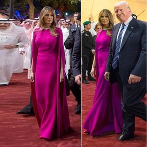 Melania Trump Satin Evening Dress 2020 Long Saudi Arabia Elegant Women Outfits Formal Dress With Long Wrap Prom Gowns rRFQK