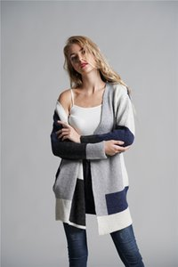 Womens Long Cardigan maglioni oversize a righe anteriore aperto allentato Colorblock Knit Autunno Kimono Duster Coats 3Colors