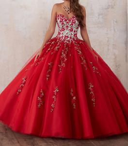 Red Bordados Vestidos Quinceanera 2020 contas de cristal Tulle vestido de baile Vestidos de baile de 15 anos Debutante Querida Vestidos De 15 Anos