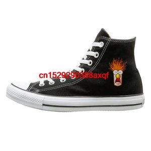Unisex Casual Shoes Teenagers Boys and Girls Sports Shoes Beaker The Muppets Face High-top Canvas Shoes for Men Women