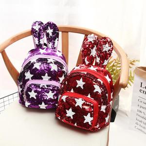 스타 sequin 토끼 귀 sequins 배낭 소녀 사랑 선물 학교 가방 패션 귀여운 여행 작은 배낭 숄더 가방